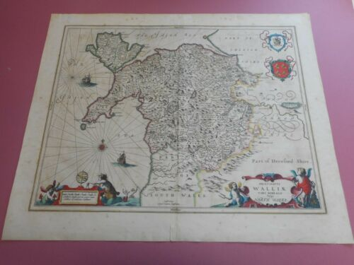 100% ORIGINAL LARGE NORTH WALES  MAP BY JANSSON C1650 VGC COLORED