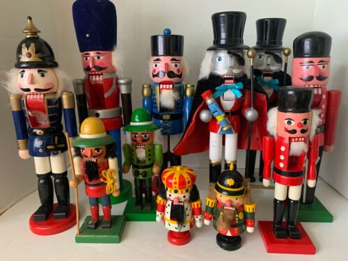 """11 Wood Carved NutCrackers Christmas Holiday 5"""" 8"""" 13"""" 16"""" Vintage 1970s-2015"""