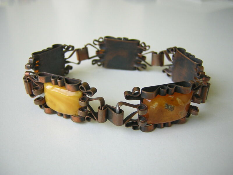 Antique Bracelet Made From Copper With Nature Amber Butterscotch Honey 0.7oz