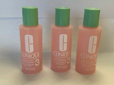 Lot of 3 Clinique Clarifying Lotion Toner # 3 Combination Oily Travel Size 2oz