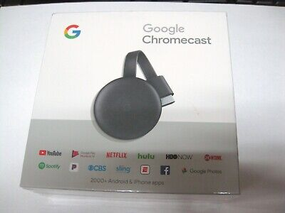 NEW SEALED Google Chromecast 3rd Generation HDMI Media Streamer Genuine Charcoal