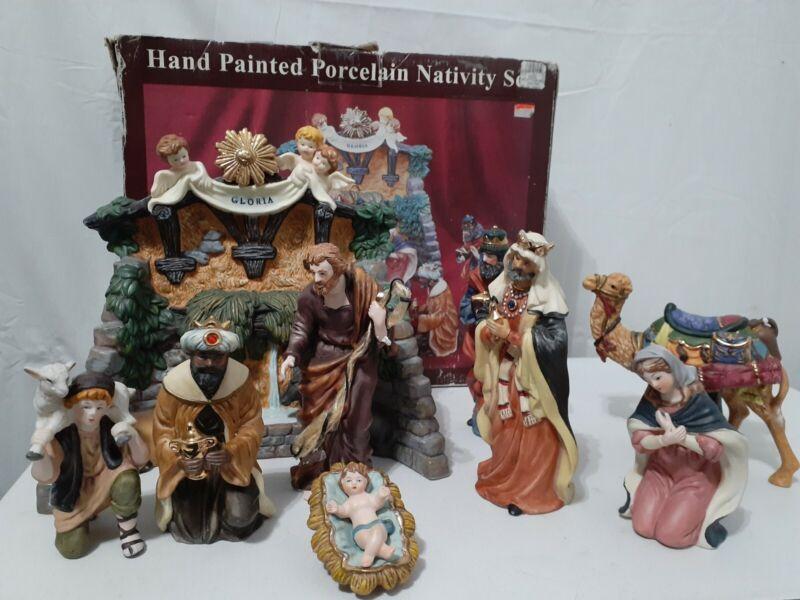 Kirkland Signature 10 Piece Large Porcelain Nativity Set With Box
