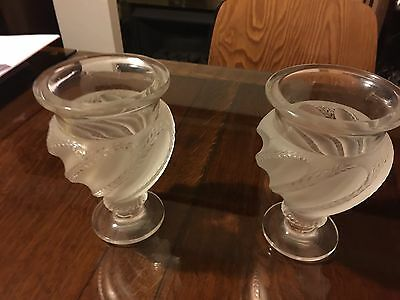 Fabulous signed complete pair of Lalique Ermenonville crystal vases £3000 new!!!