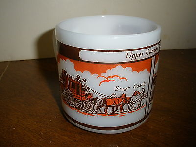 Vintage White Milk Glass  Mug F Upper Canada Village Store   Stage Coach