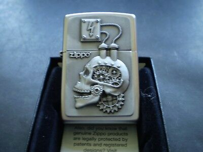 "ZIPPO/ THE RARE "" POWER ENGINE SCULL "" IN AWESOME DETAIL / STEAM PUNK DESIGN"