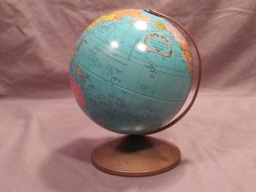 """Vintage Metal Globe The Revere 6"""" Globe by Replogle with Metal Stand"""