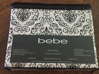 Bebe Black White Damask Scroll Full Sheet Set 4pc NEW Sheets Cotton Black And White Sheets