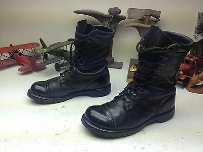Vintage 1973 Usa Genesco Black Leather Lace Up Engineer Boss Army Boots 10 R