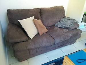 2 seater lounge + ottoman - chocolate brown fabric suede Kellyville Ridge Blacktown Area Preview