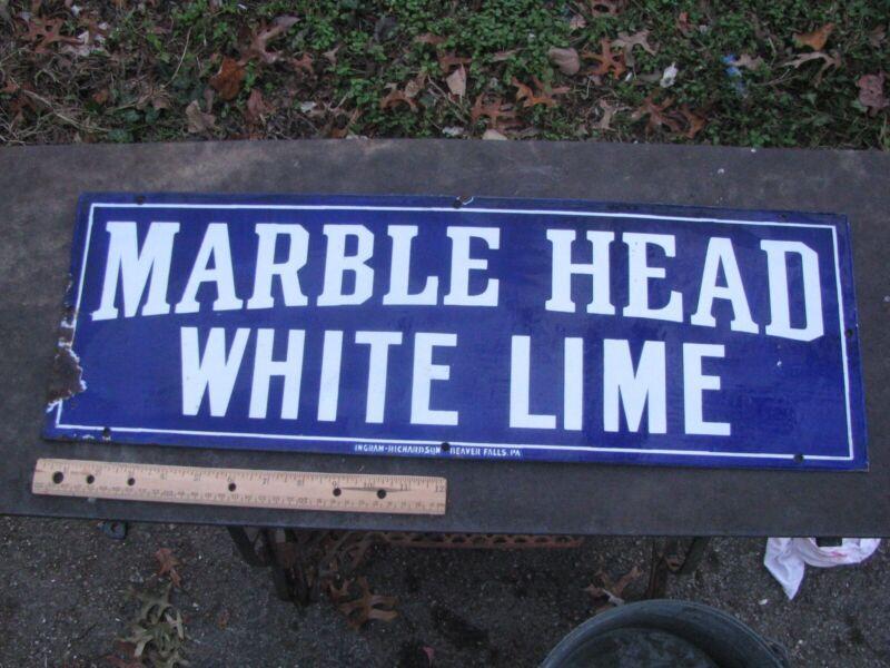"ANTIQUE PORCELAIN MARBLE HEAD WHITE LIME ADVERTISING SIGN MISSOURI 24"" x 8"""