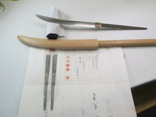 JAPANESE SAMURAI NAGINATA SWORD IN SHIRASAYA NAOYOSHI AND DATED NTHK PAPER