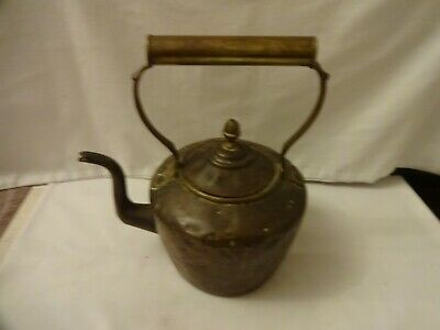 ANTIQUE SMALL GEORGIAN COPPER KETTLE WITH SWAN NECK HEIGHT 23 X 20 cm