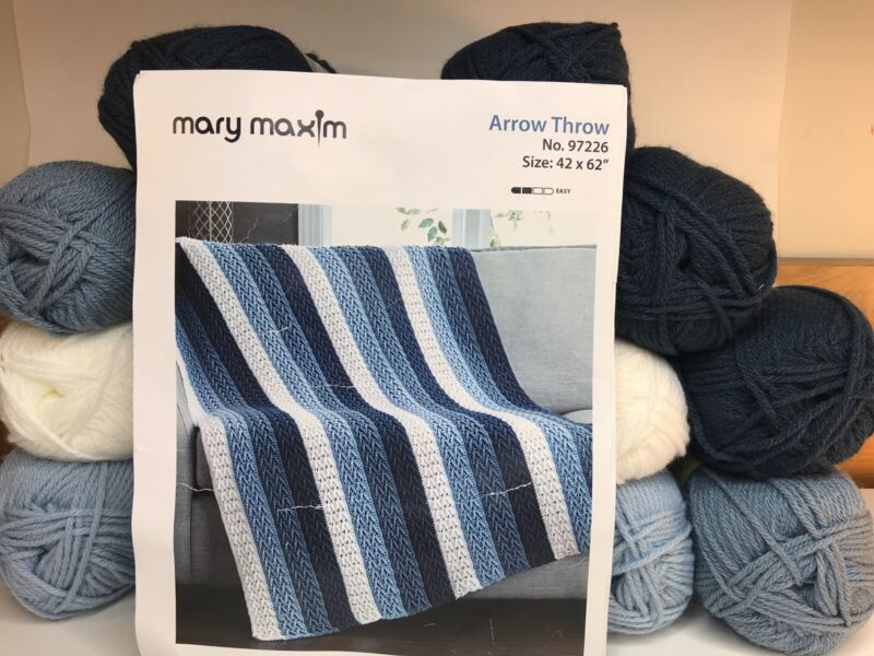 "Mary Maxim Afghan Kit Arrow Throw 42 X 62"" White Blue Crochet 12 Skeins of Yarn"