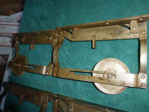 4 Vintage Antique Adjustable Iron Parlor Barn Door Rollers Hangers 3521 I