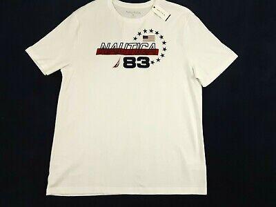 Nautica Mens T-Shirt Size 2XL 3XL Short Sleeve USA Flag White Graphic Tee NWT
