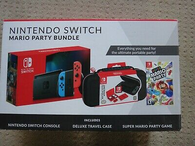 Nintendo Switch + Super Mario Party + Deluxe Travel Case Bundle Game System