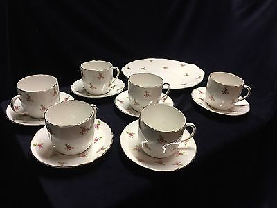 VINTAGE BONE CHINA ROYAL STAFFORD PInk Rosebud 6x Cups & Saucers And Cake Plate