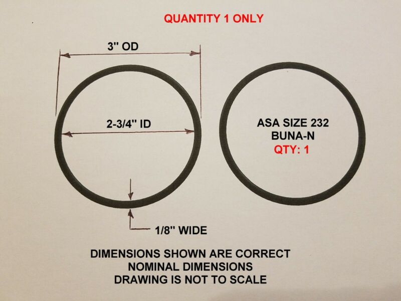 "O-ring Size 232, 3"" OD x 2-3/4"" ID x 1/8"" thick. Buna-N.   QTY 1. Brand New."