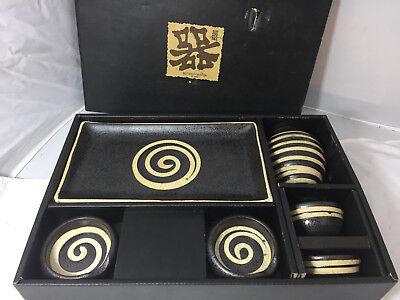 Sushi Sake Sets - Miya 7 piece Sushi and Sake Set for 2 Spiral Black