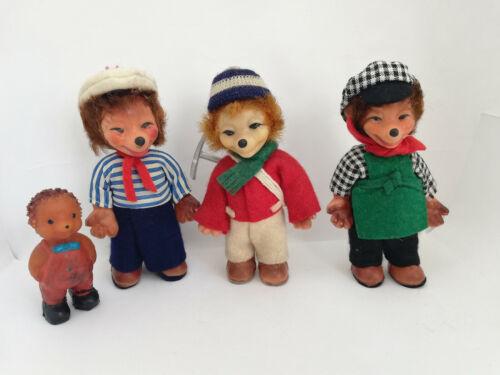 Vintage RareFour Hedgehogs Rubber Dolls Toy German