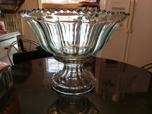 Huge Antique 24-30 Cup Pressed Glass Punch Bowl