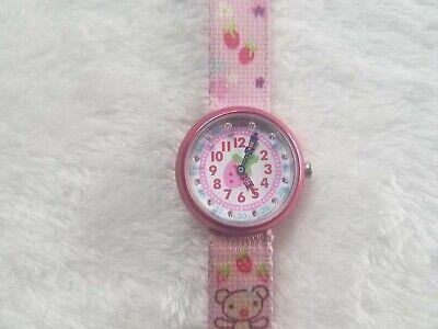 Swatch Flik Flak Swiss Made Pink Kids Analog Quartz Watch w/ Fruit Canvas Band