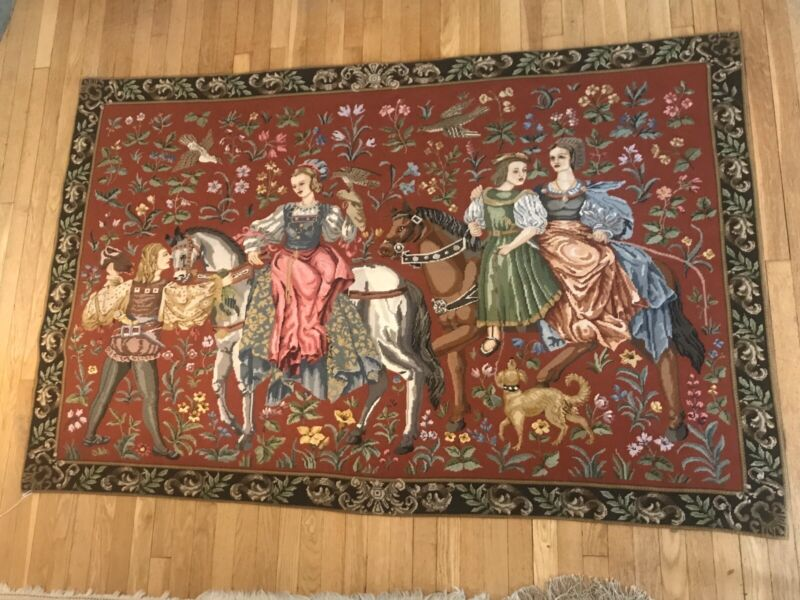 LARGE Victorian Petit Point Wool Needlepoint Rug Tapestry 6' X 4' PERFECT