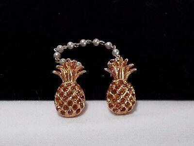 Vintage Gold Orange Rhinestone Pineapple Fruit Pearl Chain Sweater Guard