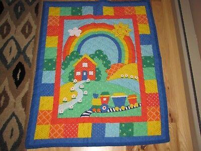 BonEful Fabric FQ Cotton Nascar VTG Car Candy Applique Rainbow Patch Block RARE