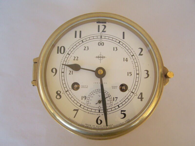 AUGUST SCHATZ & SOHNE GERMANY FOR SWIFT 8 DAY SHIPS BELL CLOCK W/ TEMP  WORKING