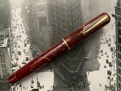 Vintage 1930s PARKER Premier Depression Era Red & White Marble Fountain Pen