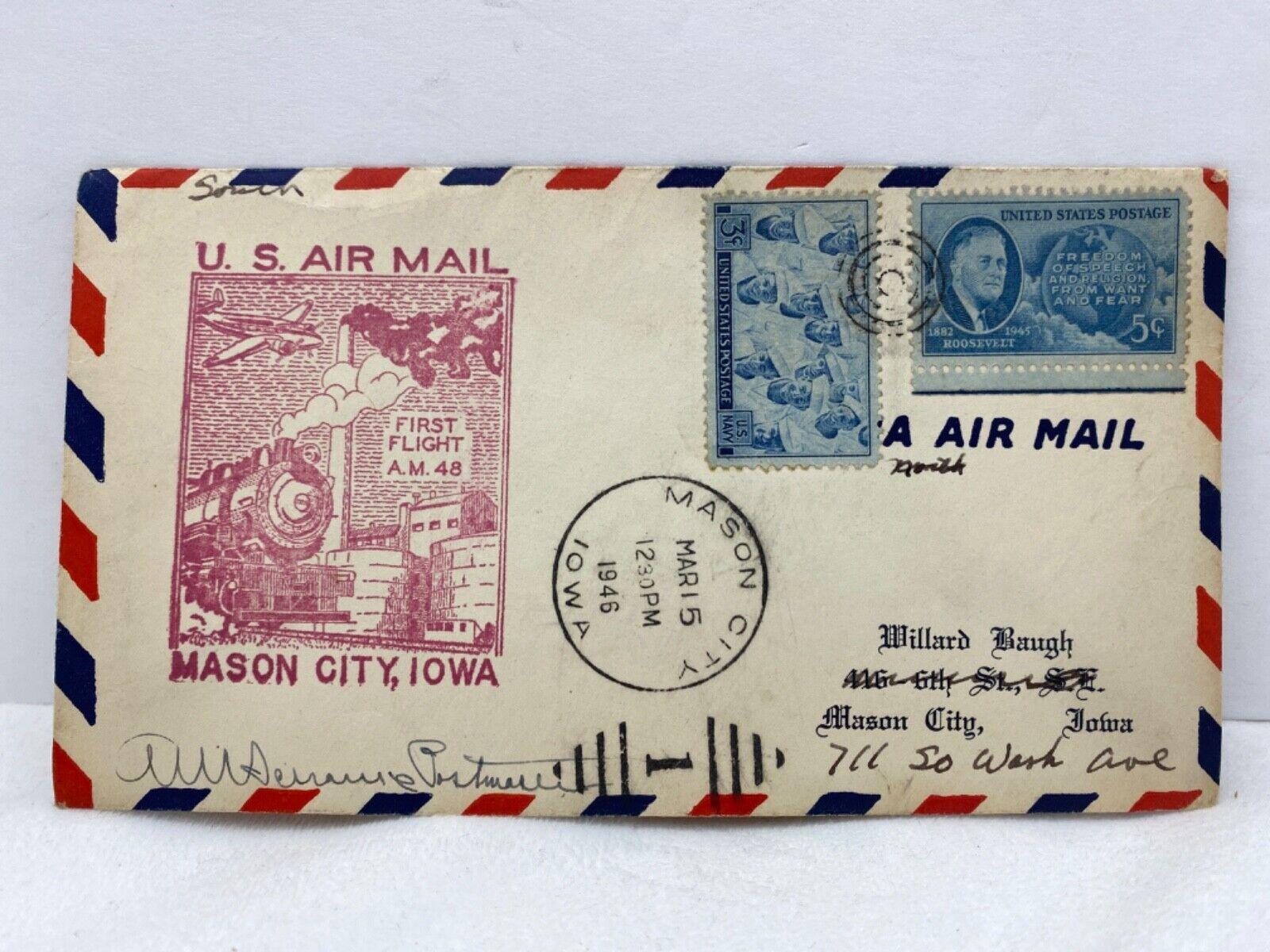 1946 FIRST FLIGHT US AIR MAIL ROUTE AM 48 - MASON CITY, IOWA - 95 - $1.25