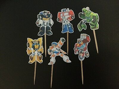 Rescue Bots Party Favors (UNIQUE TRANSFORMERS RESCUE BOTS CUPCAKE TOPPERS, CAKE TOPPER, PARTY FAVOR)