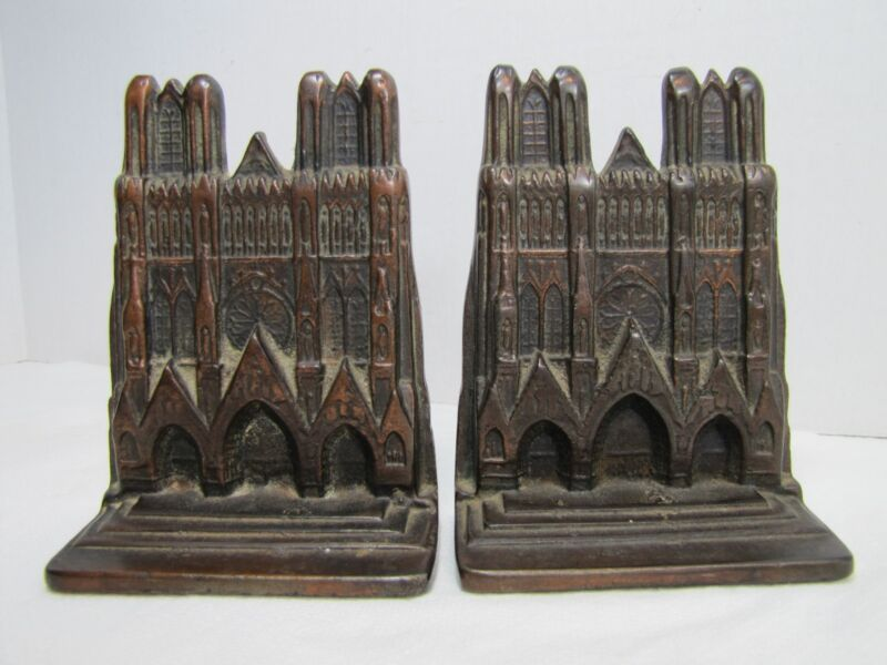 Antique Cast Iron Cathedral Bookends bronze wash exquisite ornate detailing old