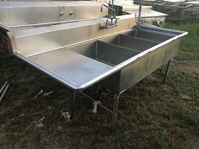 Amtekco 84.5 X 36 Stainless Steel 3 Compartment Wash Sink W Drainboard Nsf