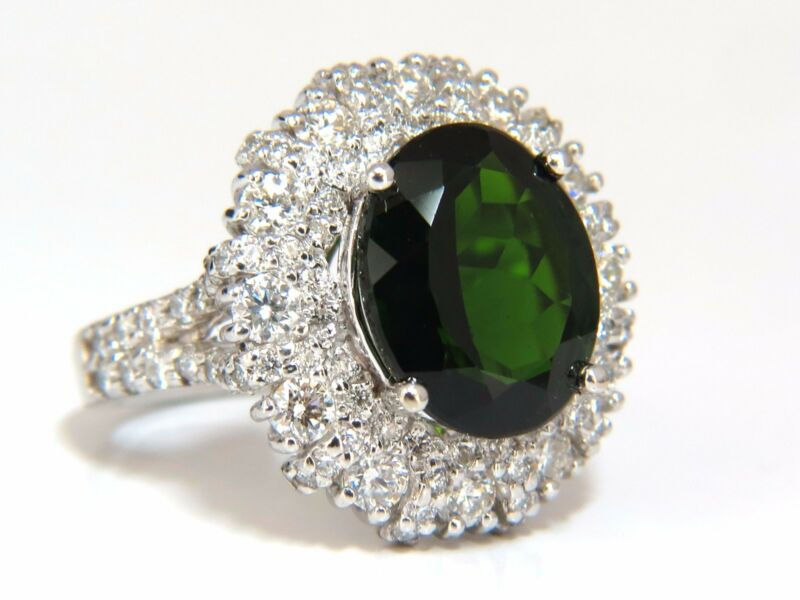 Chrome Diopside Natural Diamond Ring 7.50ct 14kt Vivid Deep Green Raised