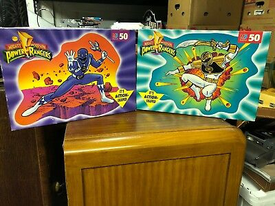 (2) MIGHTY MORPHIN POWER RANGERS Action Shaped Puzzle - 1994 - vintage 50 pcs