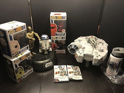 Star Wars C3po And R2d2 Talking Coin Bank Plus Funko Hasbro Bottle Tags