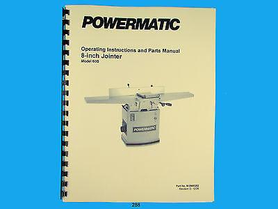Powermatic Model 60b 8 Jointer Operating Instruction Parts Manual 288