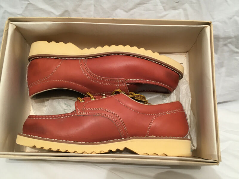 NEW Vintage SEARS Brown Leather Oil Resistant Work Shoes Hard Toe 9D NOS w Box