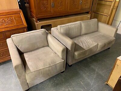 Modern Suede Two Seater Sofa and Armchair in Light Grey