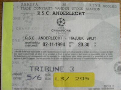 Ticket: Anderlecht - Hajduk Split UEFA Champions League (2-11-94)