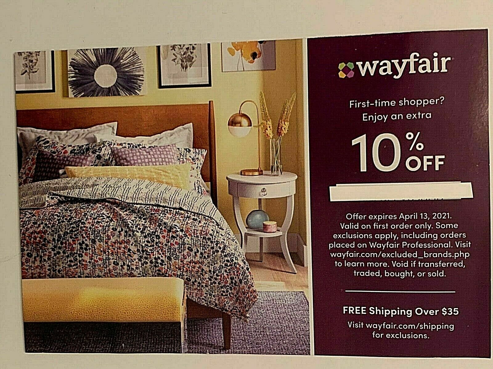 Wayfair 10 Off Coupon First Time Order Expires 4-13-2021 Fast E-Ship  - $3.95