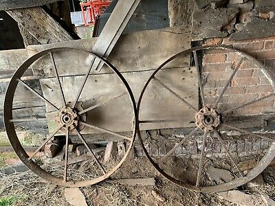 VINTAGE Large IRON CART WHEELS ARCHITECTURAL SALVAGE GARDEN