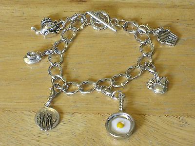 Baking/Food/Waitress/Cooking/Chef Silver-Tone Charm Bracelet/Coffee/Pots/Pans (Food Bracelet Charms Silver)