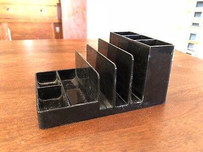 Retro Plastic Midcentury Modern Black Desktop Organizer And Letter Holder