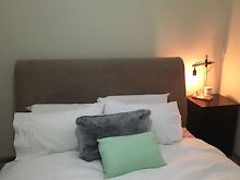 Beautiful beige suede bed head & frame Balaclava Port Phillip Preview