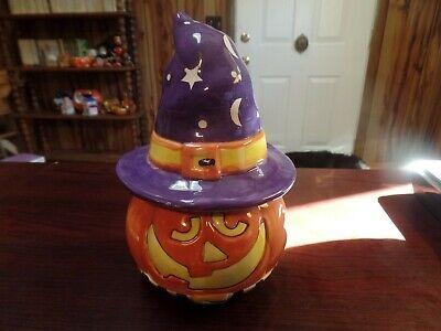 "8 1/2"" Tall Ceramic Pumpkin/Jack O'Lantern W/ Witches Hat Figurine #2792"