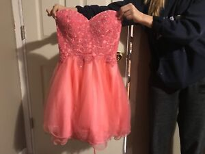 Coral pink strapless dress