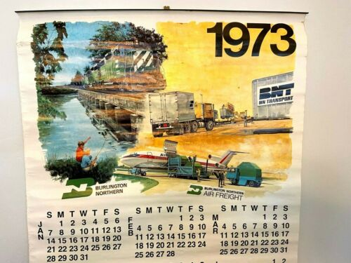 Vintage 1973 Burlington Northern Railroad Poster Calendar Train Air Freight